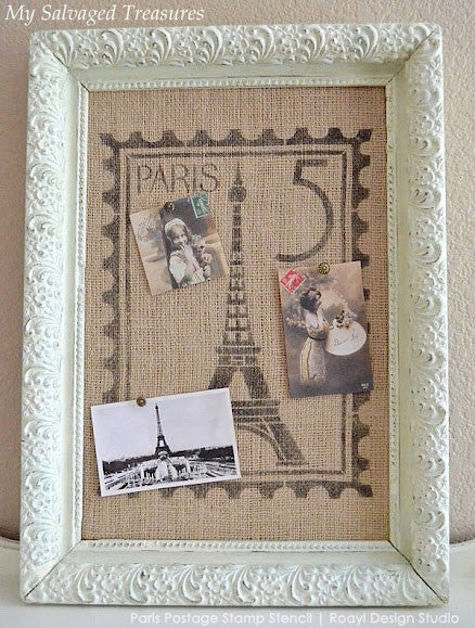 French Design Paris Postage Stamp Wall Art Stencil - Royal Design Studio
