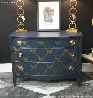 Navy Blue Painted Dresser Drawers with Designer French Bee Trellis Furniture Stencils - Royal Design Studio