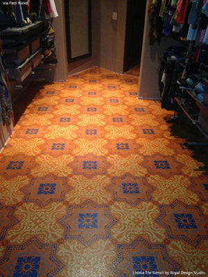 Colorful DIY Painted Floor with Faux Tile using Lisboa Tile Stencils - Royal Design Studio