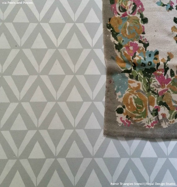 DIY Concrete Redo Stenciling Ideas - Asmir Triangle Wall Stencils for Painting - Royal Design Studio