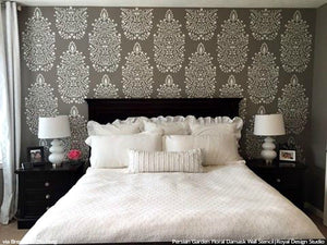 DIY Bedroom Makeover Large Damask Wall Stencils - Royal Design Studio