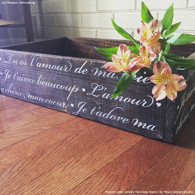Painting Vintage Design on Wood - French Love Letters Furniture Stencils - Royal Design Studio
