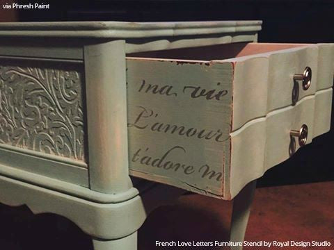 Decorating Sides of Drawers with Pattern - French Love Letters Furniture Stencils - Royal Design Studio