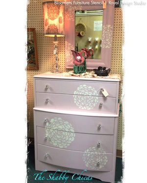 Pink Furniture Makeover using Flower Stencils