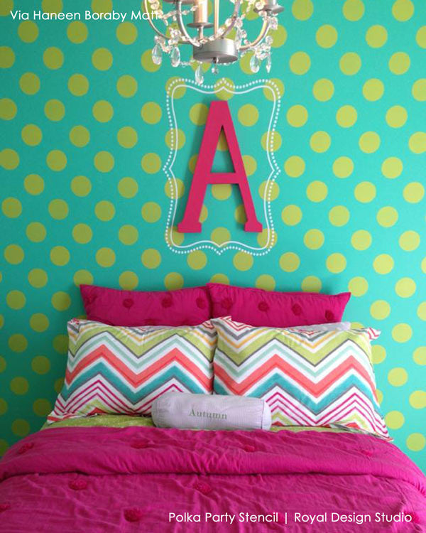 Paint your walls with cute polka dots and circle shapes - Royal Design Studio kids room and nursery wall stencils