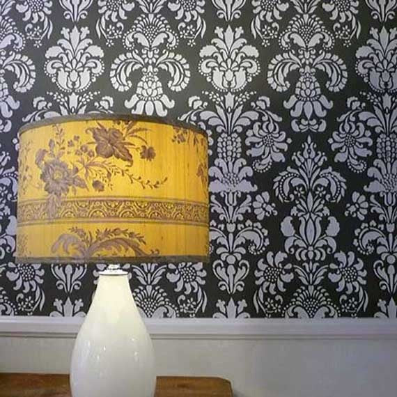 Stenciled Accent Wall with Delicate Floral Wall Stencils - Royal Design Studio