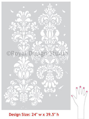 Delicate Floral Wall Stencils, Large Damask Wall Stencils for Painting - Royal Design Studio