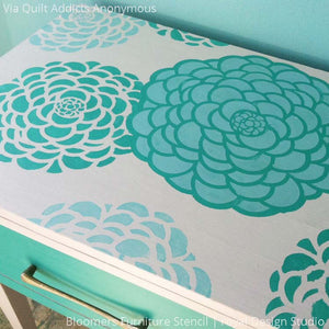Tiffany Blue Turquoise Painted Furniture Upcycle with Colorful and Modern Flower Furniture Stencils - Royal Design Studio