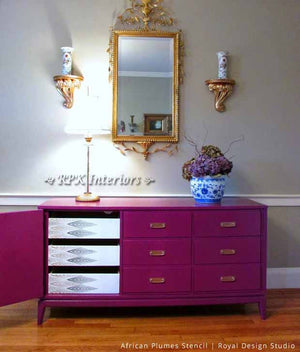 Pink Painted Dresser with Stenciled Drawers - African Plumes Furniture Stencils - Royal Design Studio
