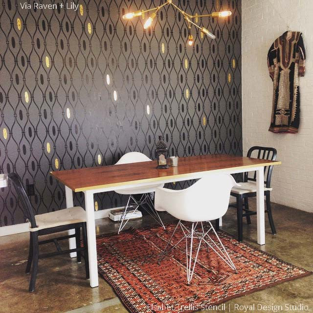 Decorate Accent Wall with Elegant Metallic Gold and Dark Black Paint - Elsabet Trellis Wall Stencils for Classy DIY Decorating - Royal Design Studio