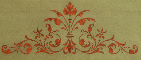 Renaissance Door Crown Classic Panel Stencil design