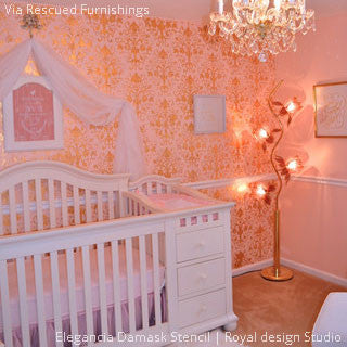 Orange and Pink Designer Wallpaper Look in Baby Nursery Decor - Elegancia Allover Wall Stencils - Royal Design Studio