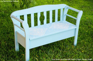 Chalk Paint Painted Furniture Ideas - Love Birds Lace Damask Stencils - Royal Design Studio