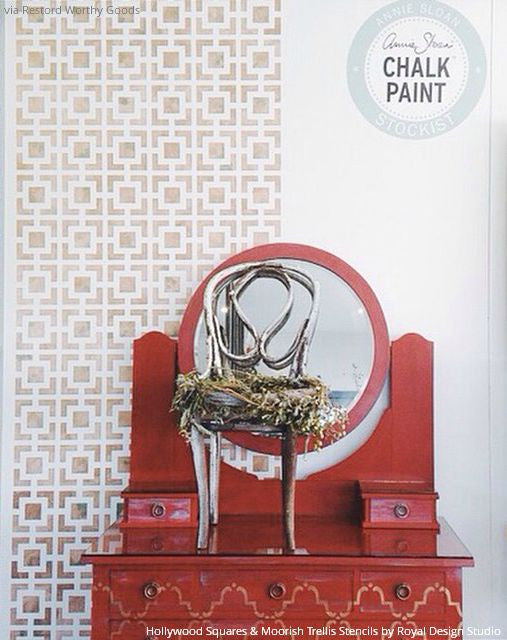 Metallic Paint and Chalk Paint to Stencil a Wall and Furniture with Elegant Designer Stencil Patterns - Royal Design Studio