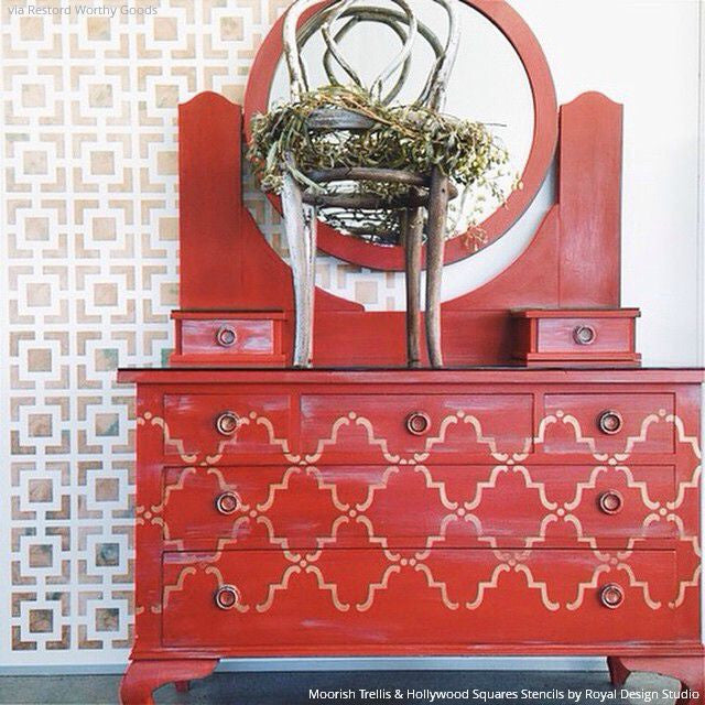 Stenciling Dresser Drawers with Red Chalk Paint and Pattern - Moorish Trellis Furniture Stencils - Royal Design Studio