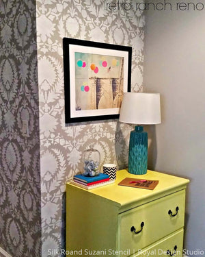 Modern Fabric Damask Wallpaper Look but Painted with Suzani Wall Stencils - Royal Design Studio
