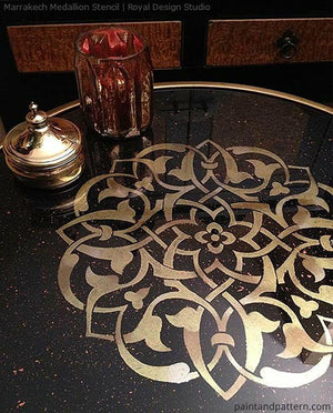 Metallic Gold Glass Table with Moroccan Art Furniture Stencils - Royal Design Studio