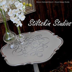 Allover Damask Ribbon Furniture Stencils for Painting Furniture with Chalk Paint - Royal Design Studio