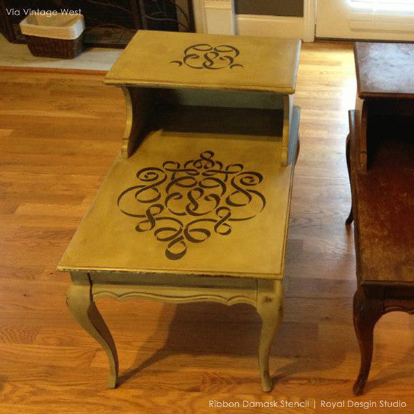 ... Allover Damask Ribbon Furniture Stencils For Painting Furniture With  Chalk Paint   Royal Design Studio ...