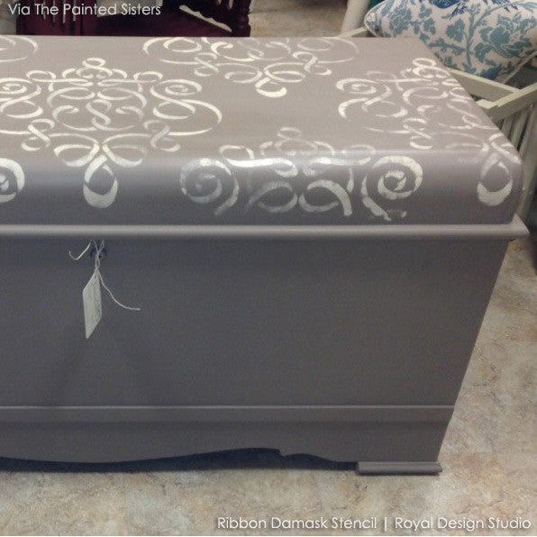 Ribbon Damask Furniture Stencil