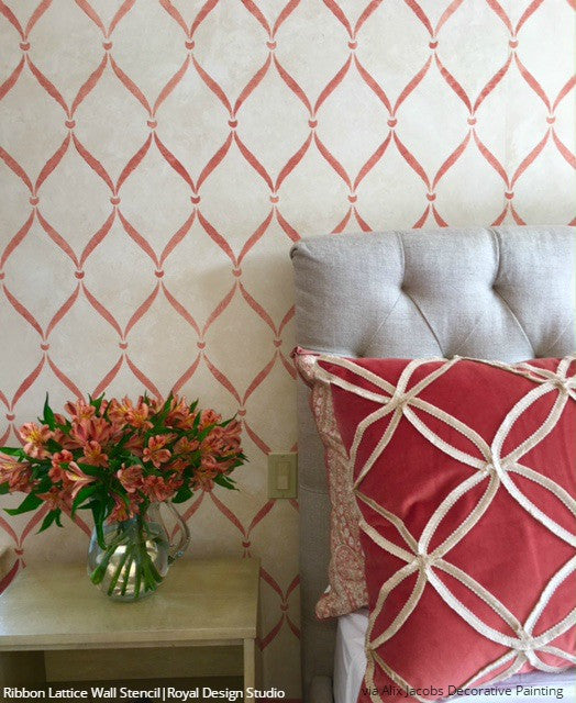 Classic Trellis Wallpaper Designs Painted Wall Stencils Bedroom Makeover - Royal Design Studio