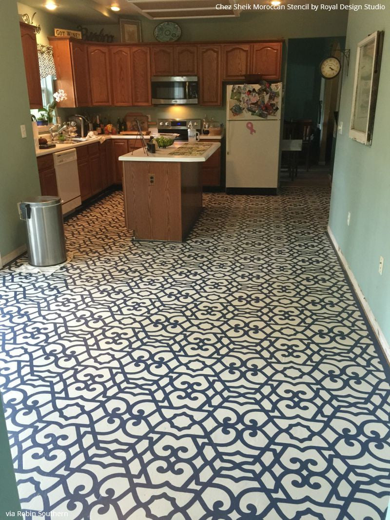 DIY Painted Floor Makeover using Large Pattern Chez Sheik Moroccan Wall Stencils - Royal Design Studio