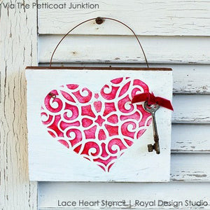 Lace Heart Wall Stencil