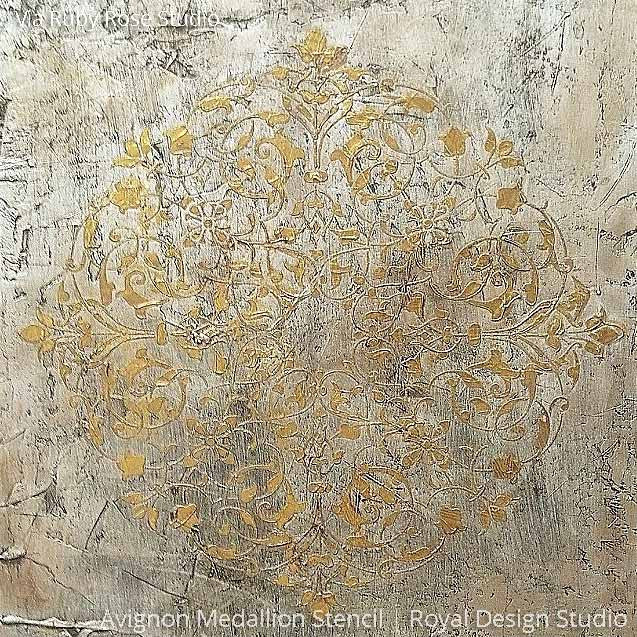 Gilded Metallic Wall Art using Avignon Medallion Stencils for DIY Designer Style - Royal Design Studio