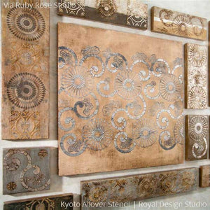Metallic Bronze and Copper Wall Art Painted with Oriental Pattern - Kyoto Allover Flower Wall Stencils - Royal Design Studio