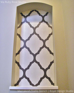 Exotic Designer Wallpaper Look using Easy DIY Marrakesh Trellis Moroccan Wall Stencils - Royal Design Studio