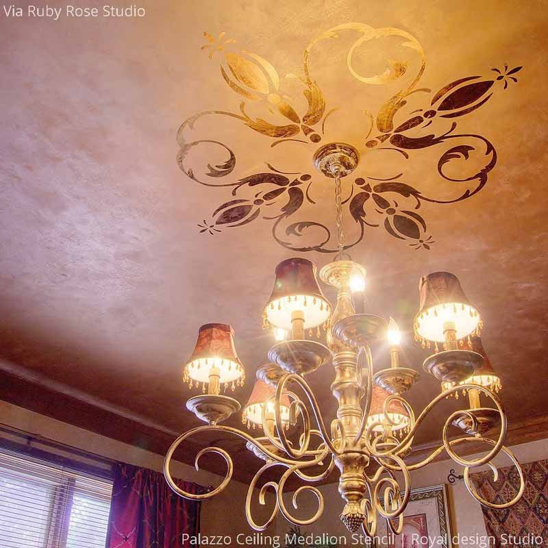Elegant Grand DIY Painted Ceiling Designs - Italian and European Palazzo Ceiling Stencils - Royal Design Studio