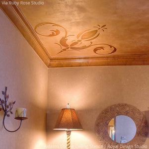 Elegant Grand DIY Painted Ceiling Designs - Italian and European Palazzo Corner Ceiling Stencils - Royal Design Studio