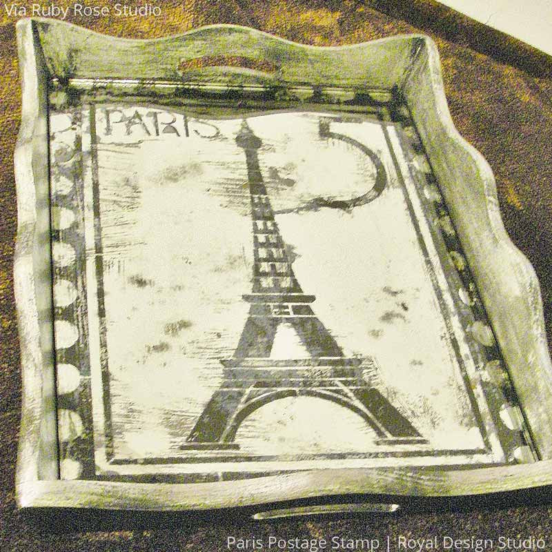 Vintage French and Paris Serving Tray Stenciled with Paris Postage Stamp Stencils - Royal Design Studio