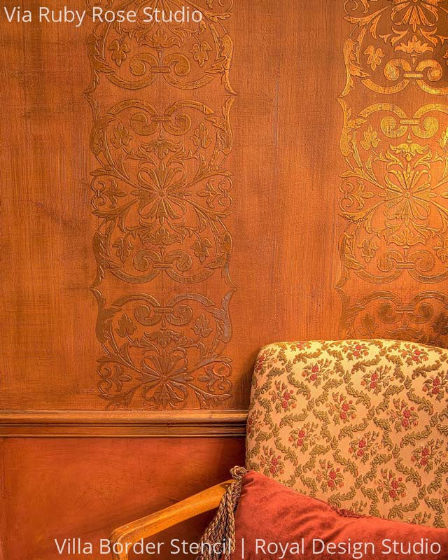 Elegant Metallic Copper and Gold Painted Walls with Stenciled Villa Border - Royal Design Studio