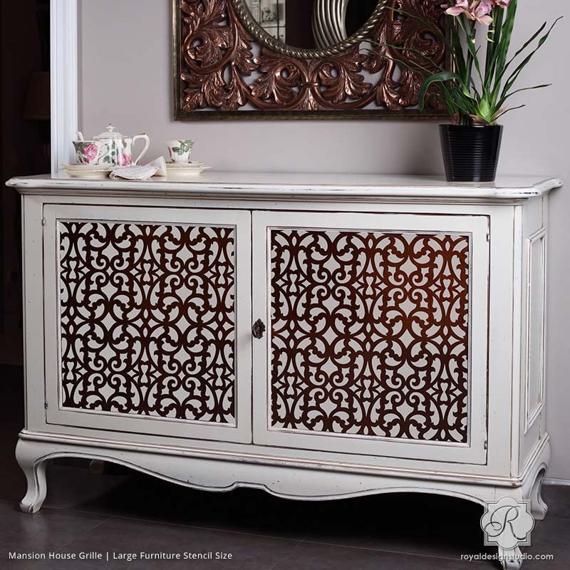 Superior Painted Dresser With Chic Trellis Patterns   Mansion House Grille Trellis Furniture  Stencils   Royal Design ...
