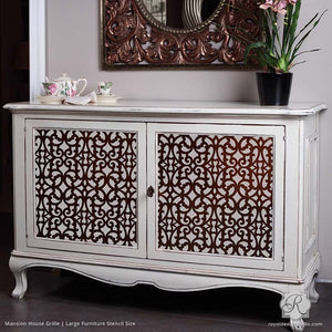 Painted Dresser with Chic Trellis Patterns - Mansion House Grille Trellis Furniture Stencils - Royal Design Studio