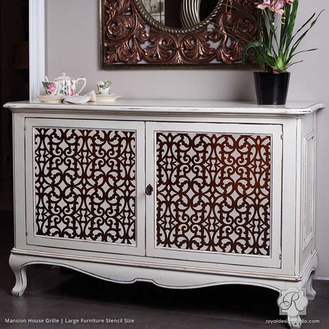 Delicieux Painted Dresser With Chic Trellis Patterns   Mansion House Grille Trellis Furniture  Stencils   Royal Design