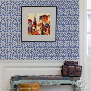DIY Stenciled Walls and Furniture Projects using Mansion House Grille Trellis Furniture Stencils - Royal Design Studio