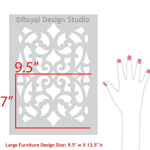 Paint Trellis Patterns on Dressers, Tables, and Cabinet Doors with Mansion House Grille Trellis Furniture Stencils - Royal Design Studio