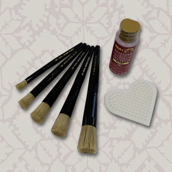 stenciling kit with stencil brushes, stencil brush scrubber, and folk art extender