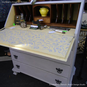 Vine and Leaves Scroll Allover Painted Furniture Stencils - Royal Design Studio and Chalk Paint Ideas