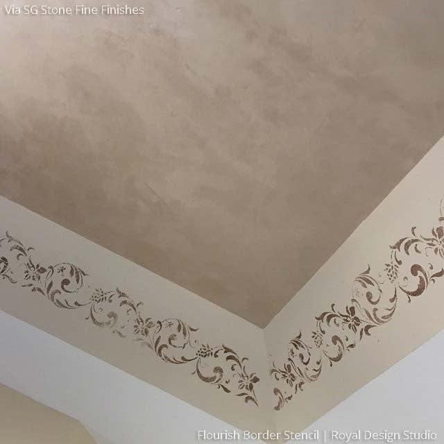 Flourish Flower Floral Border Stencils for Walls and Ceilings - Royal Design Studio