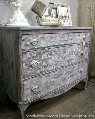 stenciling furniture ideas. vine and leaves scroll allover painted furniture stencils royal design studio chalk paint ideas stenciling u