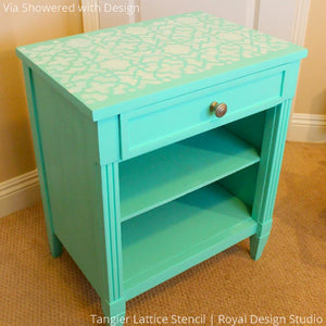 Tiffany Blue Turquoise Side Table DIY Project using  Tangier Lattice Moroccan Furniture Stencils - Royal Design Studio