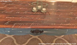 Stained and Painted Wood Table Top Furniture Project - Springtime in Paris Lettering Stencils - Royal Design Studio