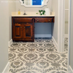 Silk Road Suzani Exotic Floor Stencils for Painting Floors - Royal Design Studio