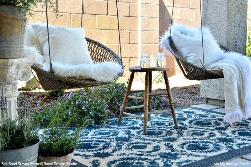 DIY Painted Fabric Floor Rug with Large Suzani Stencils - Vintage Farmhouse - Bohemian Shabby Chic - Royal Design Studio Floor Stencils
