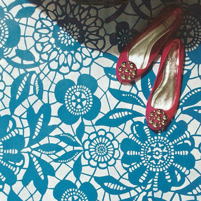 Skylars Lace Floral And Flower Patterns   Floor Stencils For Floor  Remodelling Projects   Royal Design