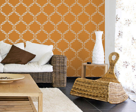 Colorful Home Decor Ideas - Acanthus Trellis Wall Stencils - Wall Painting Stencils with Damask Wallpaper Pattern - Royal Design Studio