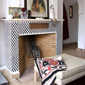 DIY Patterned Fireplace Design - Moroccan Arches Allover Moroccan Stencils - Royal Design Studio